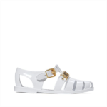 L490792 Moschino Gold Logo Jelly Sandal