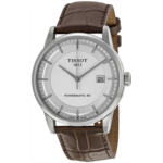 K452235 Tissot Luxury Powermatic 80 Automatic Silver Dial Brown Leather Mens Watch T0864071603100
