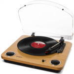 Q157611 [관부세포] ION Audio Max LP – Vinyl Record Player / Turntable with Built In Speakers, USB Output for Conversion and Three Playback Speeds – Natural Wood Finish