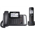 T638409 Panasonic 2-Line Cordless Phone System with 1 Handset - Answering Machine, Link2Cell, 3-Way Conference, Call Block, Long Range DECT 6.0, Bluetooth - KX-TG9541B (Black)