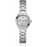 B514852 [관부세포] GUESS W0355L1 Women's Petite Sporty Radiance Silver-Tone Crystal Watch
