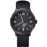 V187804 [관부세포] Mondaine Helvetica No1 Wrist Watch (MH1.B1221.NB) Black Nylon Strap, Black Case and Dial, White Hands and Numbers