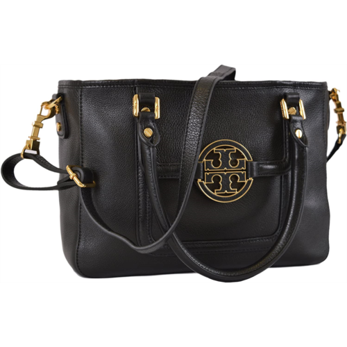 V749606 Tory Burch Women's Black Textured Leather Amanda Mini Crossbody Satchel Purse O/S