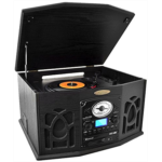 R939045 [관부세포] Pyle Vintage Turntable - Retro Vinyl Stereo System With Bluetooth, Cassette and CD Player, USB Reader, SD Card and Speakers-Record AM/FM Radio and Audio Files to MP3 with Remote and LCD