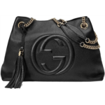 D305403 Gucci Soho Medium Black Double Leather Chain Shoulder Bag Tote Black Gold New