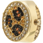 U127994 Gold Leopard Print Crystal Cover Ring Watch with Expansion Stretch Stainless Steel Band One Size Fits Most