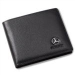 V137723 Mercedes Benz Bifold Wallet with 3 Card Slots and ID Window - Genuine Leather