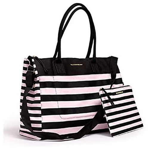 X268214 Victorias Secret Weekend Travel Tote Bag & Cosmetics Bag Pink Stripe