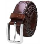 T644911 Falari Men's Braided Belt Leather Stainless Steel Buckle 35mm