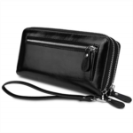 W543927 YALUXE Women's RFID Blocking Security Double Zipper Large Smartphone Wristlet Leather Wallet