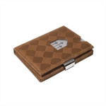 F243106 [관부세포] EXENTRI Trifold Leather Wallet w/RFID in Chess & Stainless Steel Locking Clip