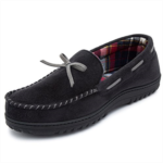 E608968 RockDove Men's Flannel Lined Moccasin Slipper with Memory Foam