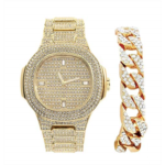U476874 [관부세포] Bling-ed Out Cuban Bracelet with Oblong Iced Look Hip Hop Watch - 8475BC Cuban