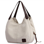 Q582086 DOURR Women's Multi-pocket Shoulder Bag Fashion Cotton Canvas Handbag Tote Purse
