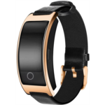 Q697864 Smart Watch with Heart Rate, Blood Pressure, Blood Oxygen Monitor, Sleep Monitor, Calories Consumption, Modern Sport Bracelet with Soft Leather Strap (Rose Golden)