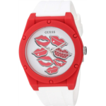 Q122405 [관부세포] GUESS Iconic White Retro Pop Lips Stain Resistant Silicone Watch. Color: White (Model: U0979L21)