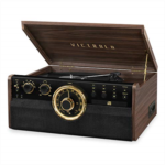 I579107 [관부세포] Victrola 6-in-1 Wood Bluetooth Mid Century Record Player with 3-Speed Turntable, CD, Cassette Player and Radio