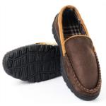 E797887 Festooning Mens Casual Moccasins Anti Slip Brown Rubber House Shoes 11 M US