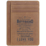 D538689 Leather Slim Wallet for Son Daughter, Husband Gifts from Wife, RFID Blocking Minimalist Front Pocket Wallet (Gift for boyfriend)