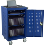 G823135 Learniture LNT-NOR1008BL-SO Structure Series 30-Device Tablet Charging Cart w/ Electric (Assembled), Blue