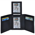 W928624 Trifold Wallets for Men - RFID-Blocking Genuine Leather Wallet with 9 Card Slots