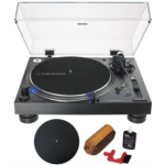 A557325 [관부세포] Audio-Technica Direct-Drive Professional DJ Turntable Black (AT-LP140XP-BK) with Essentials Bundle Includes Protective Turntable Platter and Vinyl Record Cleaning System