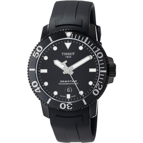G710367 [관부세포] Tissot Men's Seastar 660/1000 316L Stainless Steel case with Black PVD Coating Swiss Automatic Rubber Strap, 21 Casual Watch (Model: T1204073705100)