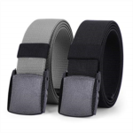 T515605 WHIPPY 2 Pack Elastic Stretch Belt for Men, Nickle Free Hiking Nylon Belt in YKK Buckle up to 51 Inches