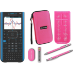 S696506 Texas Instruments Ti Nspire CX II CAS Graphing Calculator + Guerrilla Zipper Case + Essential Graphing Calculator Accessory Kit, Black (Pink)