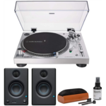 N848355 [관부세포] Audio-Technica AT-LP120XUSB USB Turntable Bundle with Eris 3.5 Monitors (Pair) and Knox Cleaning Kit (3 Items)