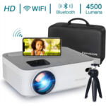 X317253 WiFi Projector Bluetooth Projector, Fangor 4500 Lux Portable Movie Projector Full HD 1080P Supported, Compatible with TV Stick, HDMI, VGA, USB, Laptop, iOS Android Smartphone Projector, Region