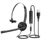 H366121 Mpow Single-Sided USB Headset with Microphone, Over-The-Head Computer Headphone for PC, 270 Degree Boom Mic for Right/Left Ear, Comfort-fit Call Center Headsets with in-Cord Volume Control