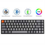 I280849 Keychron K6 68-Key Bluetooth Wireless Gaming Mechanical Keyboard with RGB Backlit/Rechargeable Battery/65% Layout, USB Wired Keyboard for Mac Windows, Gateron Red Switch