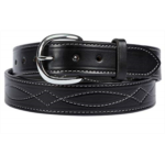 K382325 Handcrafted Fancy Stitched Leather Designer Belt for Work/Casual, 100% Leather 1-1/2