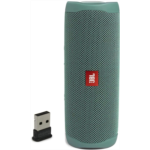 D667142 JBL Flip 5 Waterproof Portable Bluetooth Recycled Plastic Speaker Bundle with Plugable USB-BT4LE USB 2.0 Bluetooth Adapter - Green (Eco Edition)