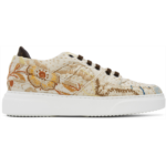 Beige Embroidered Sneakers