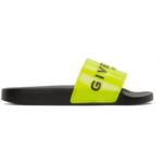 Yellow & Black Logo Flat Slides