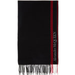 Black & Red Wool & Cashmere Heart Scarf