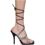 Black Satin Lace-Up Heeled Sandal